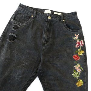 Cotton On Jeans High 90s Floral Embroidery Black